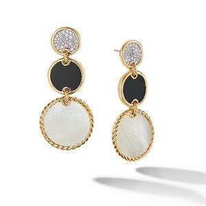 DY Elements Triple Drop Earrings in 18K Yellow Gold with Mother of Pearl, Black Onyx and Pavé Diamonds