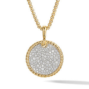DY Elements Disc Pendant in 18K Yellow Gold with Pavé Diamonds