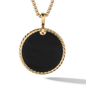 DY Elements® Reversible Disc Pendant in 18K Yellow Gold with Black Onyx and Mother of Pearl