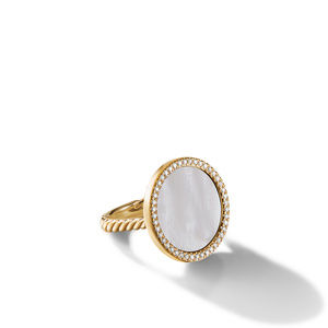 DY Elements Ring in 18K Yellow Gold with Mother of Pearl and Pavé Diamonds