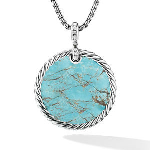 DY Elements® Reversible Disc Pendant with Turquoise and Mother of Pearl and Pavé Diamonds