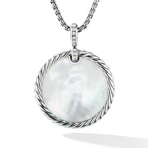 DY Elements® Reversible Disc Pendant with Turquoise and Mother of Pearl and Pavé Diamonds alternative image