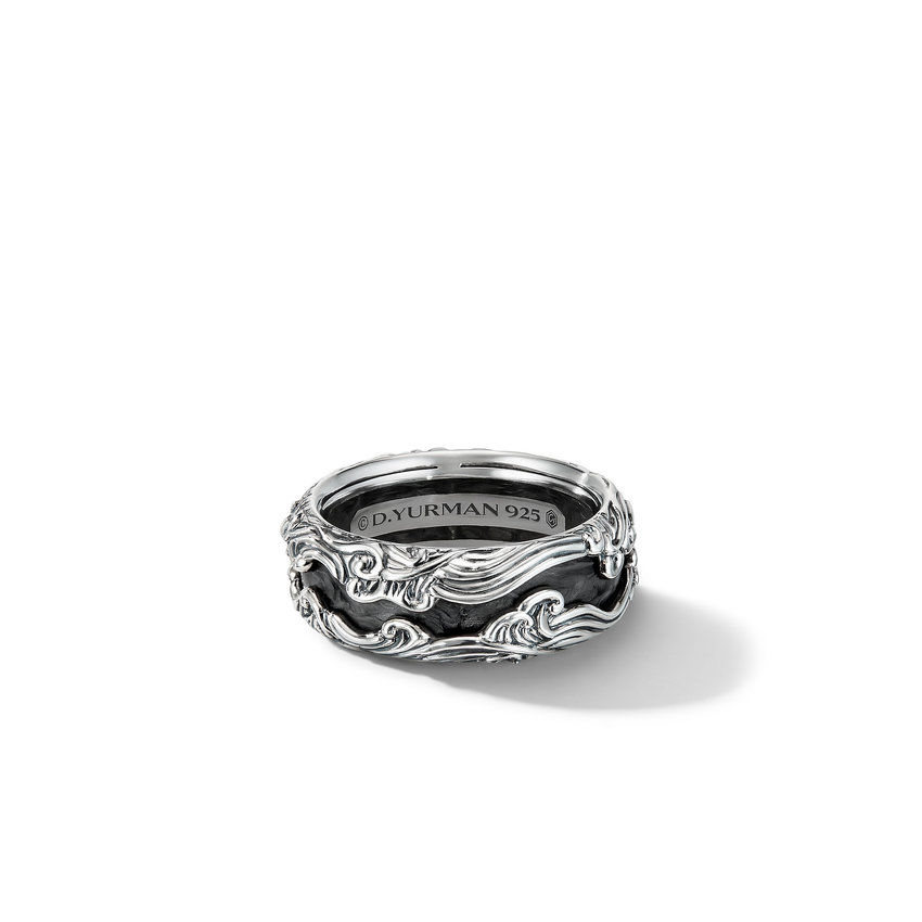 Waves Band Ring with Forged Carbon