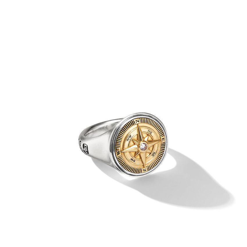 Maritime® Compass Signet Ring with 18K Yellow Gold and Center Diamond