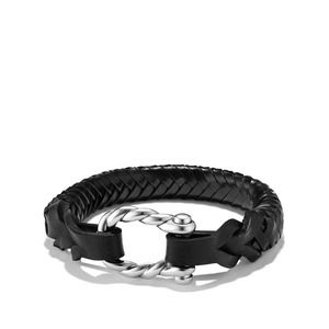 Maritime Leather Woven Shackle Bracelet in Black