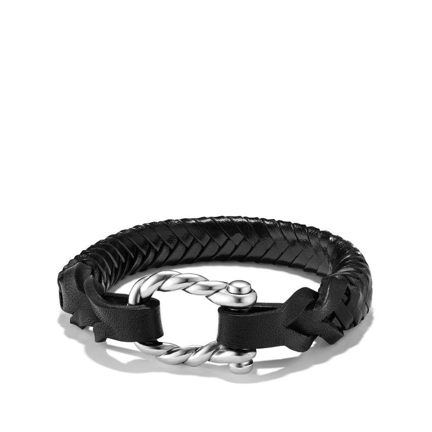 Maritime® Leather Woven Shackle Bracelet in Black