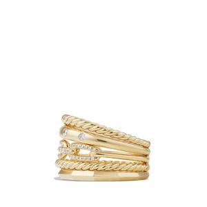 Stax Wide Ring with Diamonds in 18K Gold, 15mm alternative image