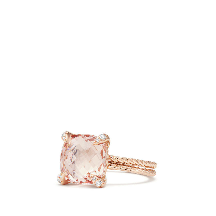 Chatelaine® Ring with Morganite and Diamonds in 18K Rose Gold, 11mm