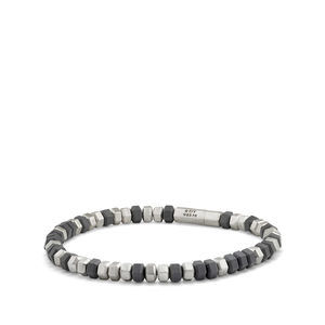 Hex Bead Bracelet in Grey, 8mm