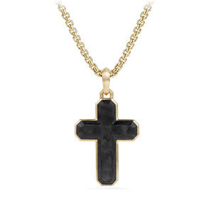 Forged Carbon Cross Tag with 18K Gold, 31.5mm