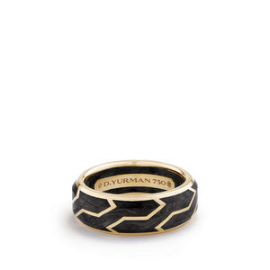 Forged Carbon Band Ring in 18K Gold, 8.5mm