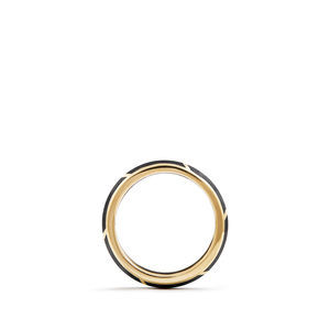 Forged Carbon Band Ring in 18K Gold, 6mm alternative image